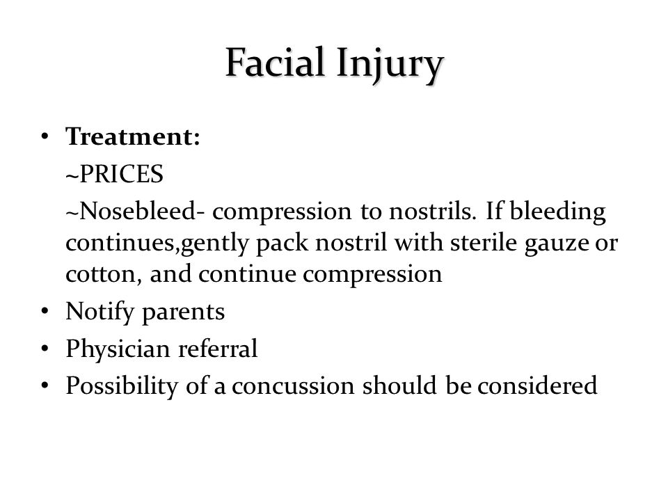 Facial Injury Treatment: ~PRICES