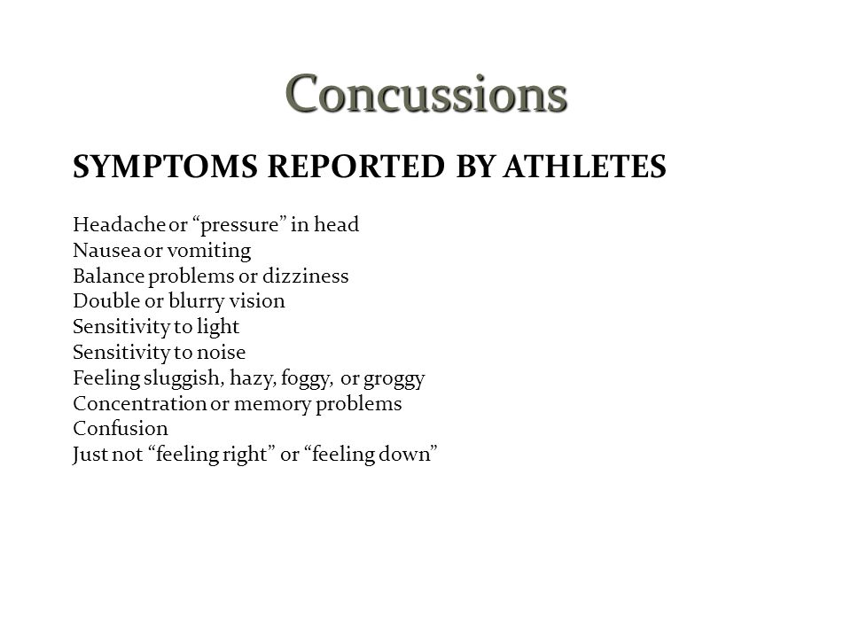 Concussions SYMPTOMS REPORTED BY ATHLETES