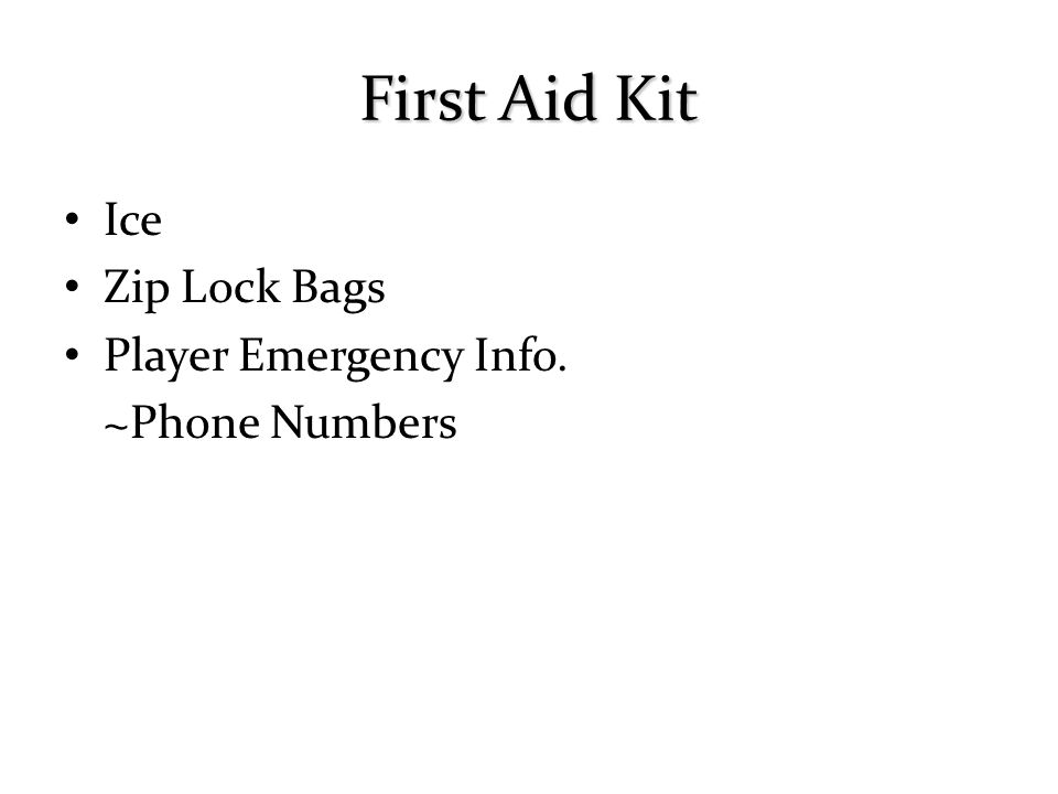First Aid Kit Ice Zip Lock Bags Player Emergency Info. ~Phone Numbers