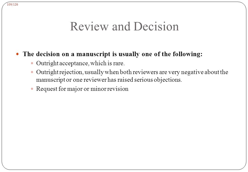 Review and Decision To submit a revised manuscript the cover letter should include the following: