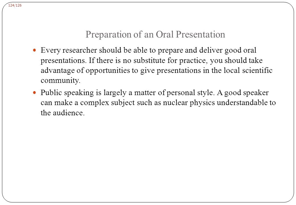Preparation of an Oral Presentation guidelines: