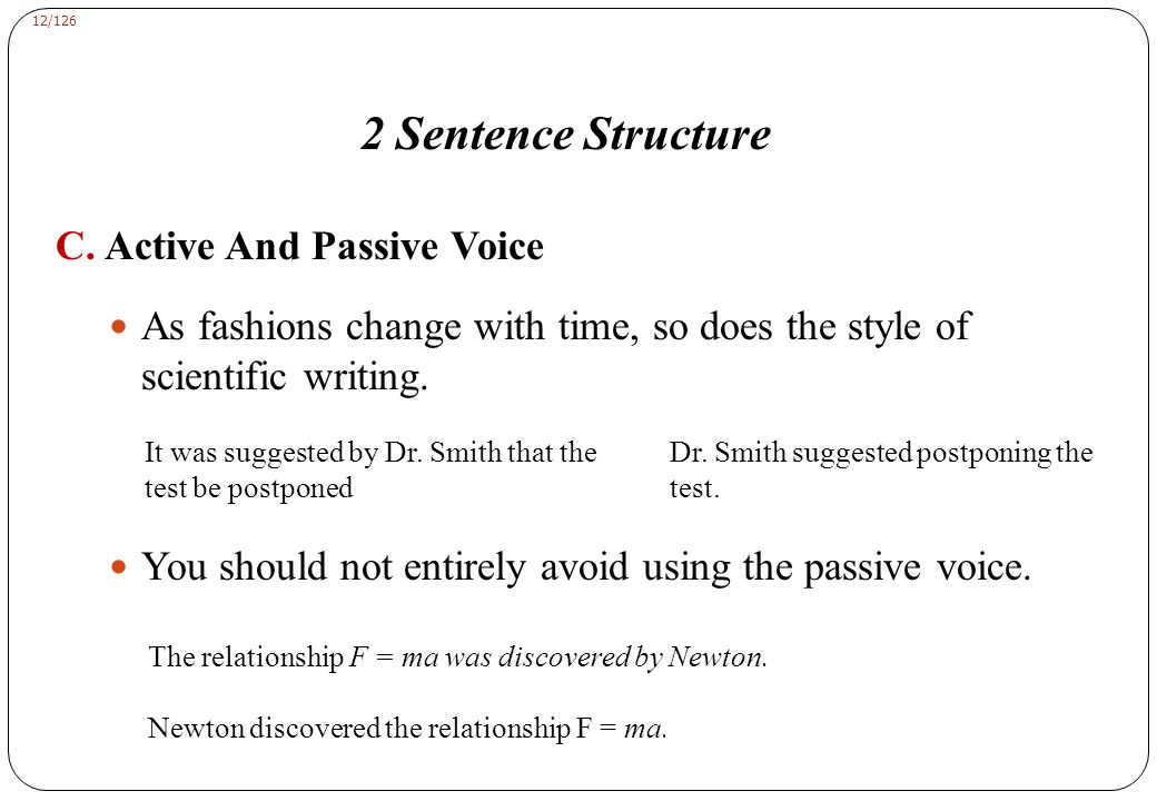2 Sentence Structure C. Active And Passive Voice