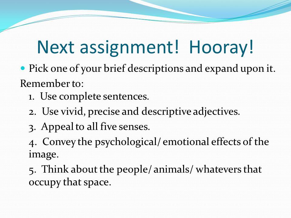 Next assignment! Hooray!