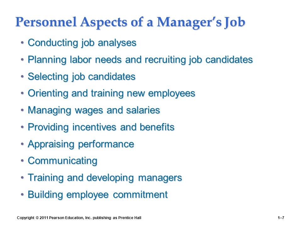 Personnel Aspects of a Manager's Job