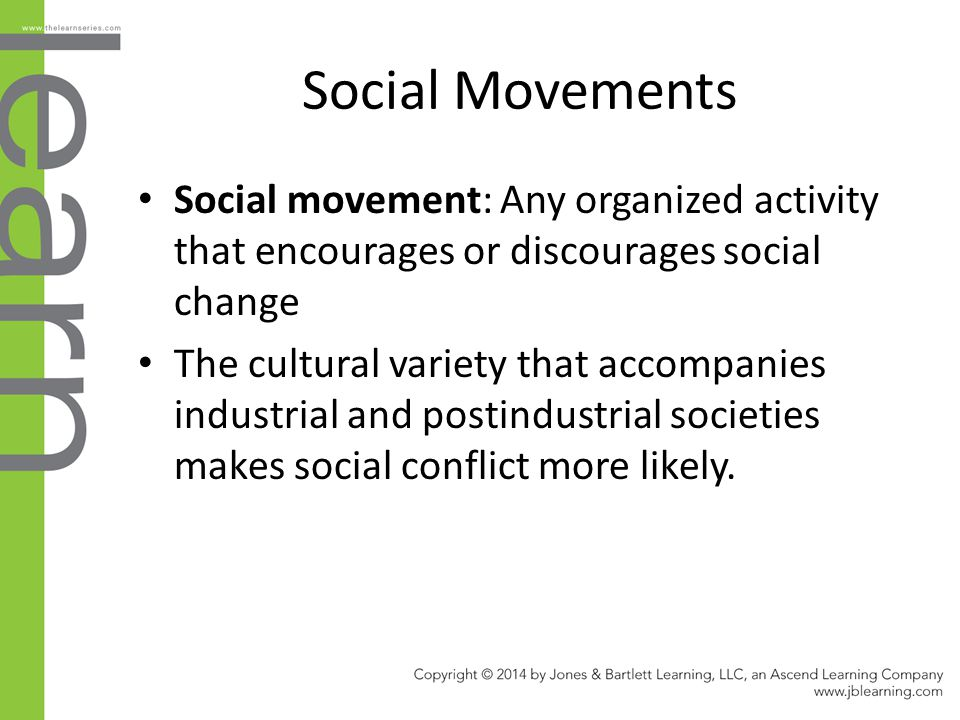 Social Movements Social movement: Any organized activity that encourages or discourages social change.