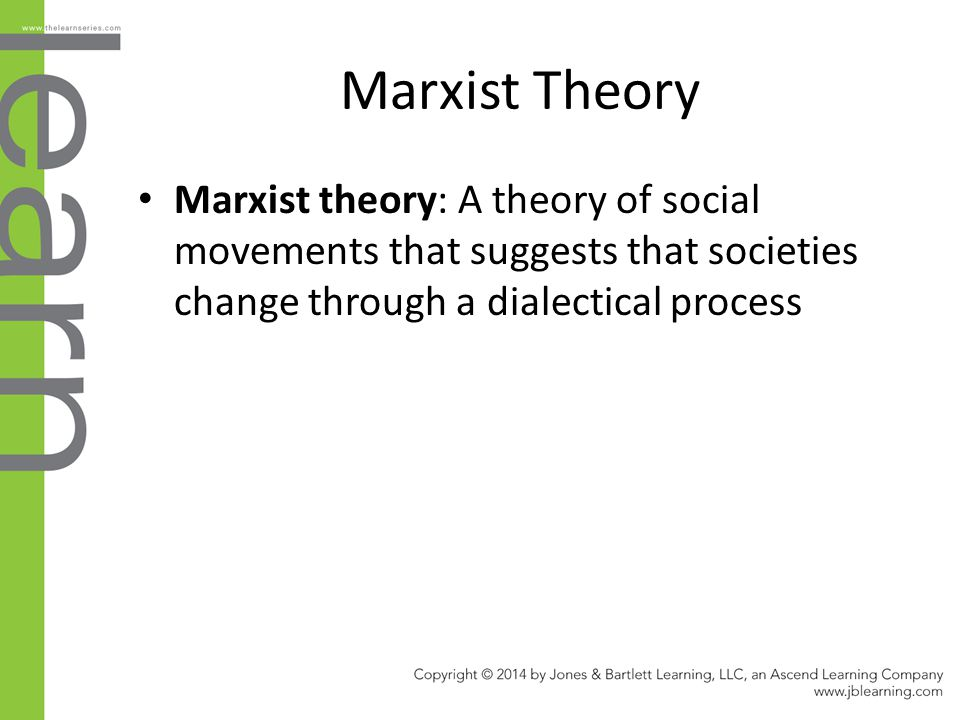 Marxist Theory Marxist theory: A theory of social movements that suggests that societies change through a dialectical process.