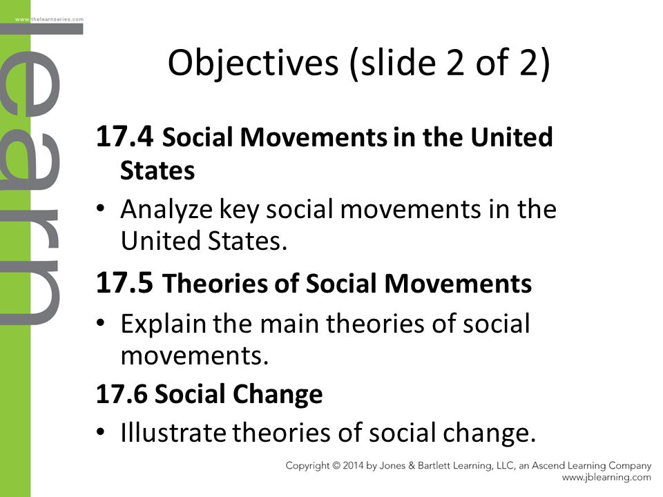 Objectives (slide 2 of 2) 17.4 Social Movements in the United States