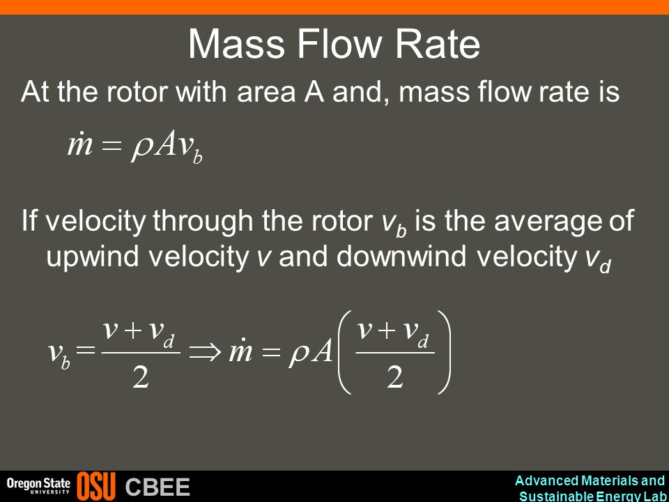 Mass Flow Rate At the rotor with area A and, mass flow rate is