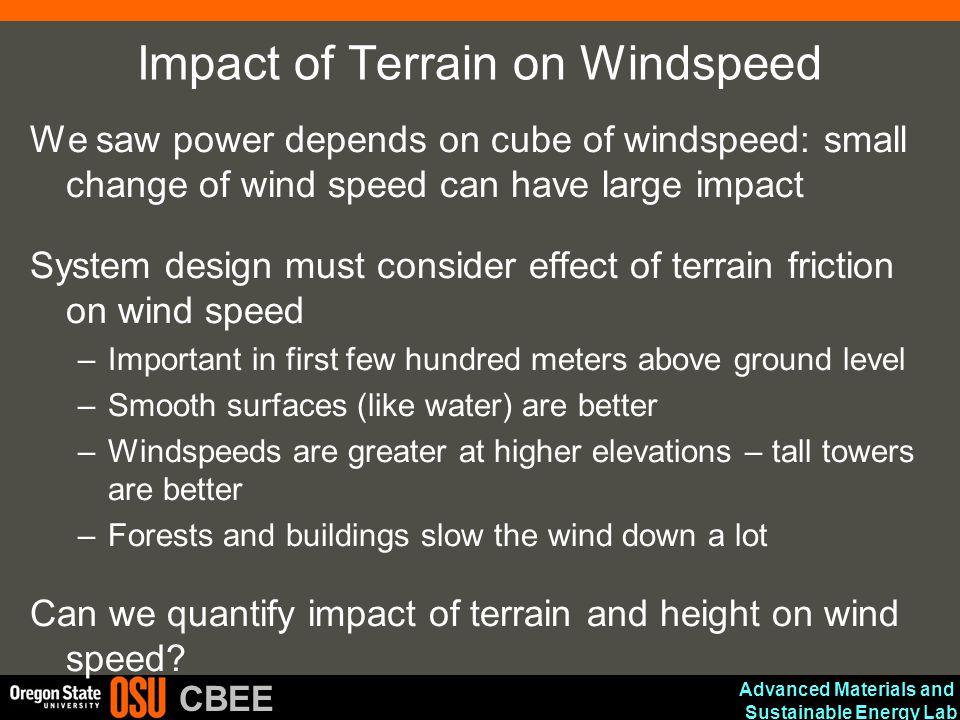 Impact of Terrain on Windspeed