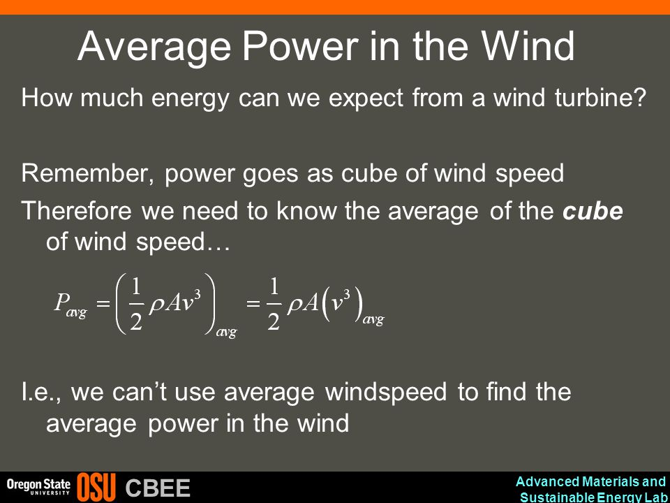 Average Power in the Wind