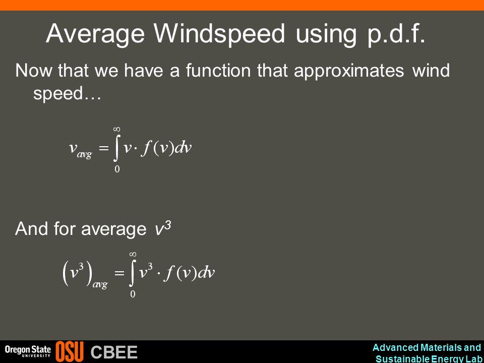 Average Windspeed using p.d.f.