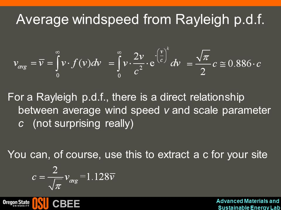 Average windspeed from Rayleigh p.d.f.