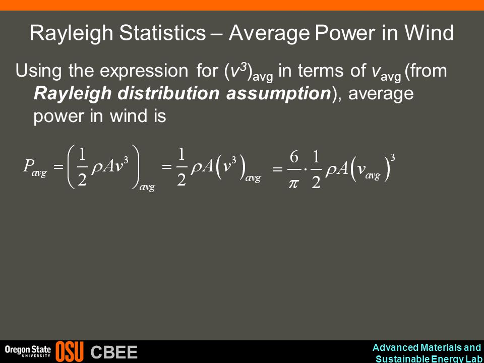 Rayleigh Statistics – Average Power in Wind