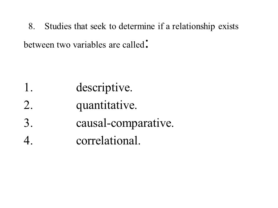 descriptive. quantitative. causal-comparative. correlational.