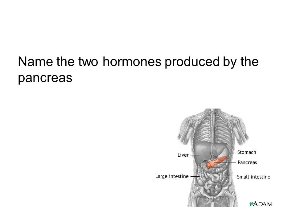 Name the two hormones produced by the pancreas