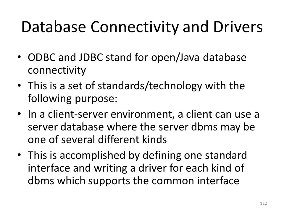 Database Connectivity and Drivers