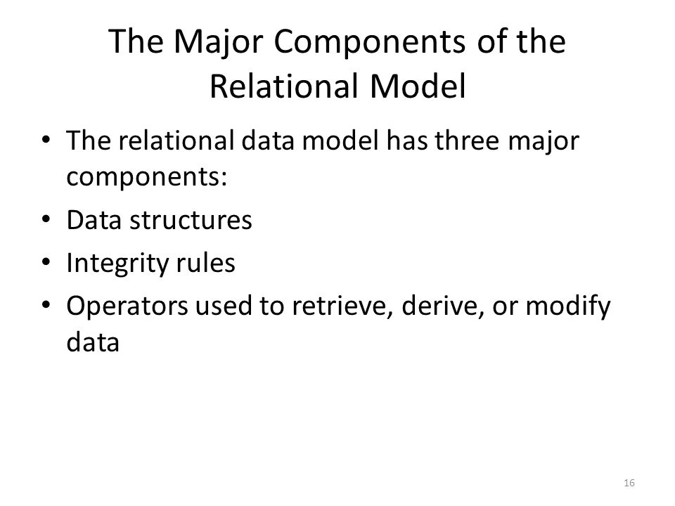 The Major Components of the Relational Model