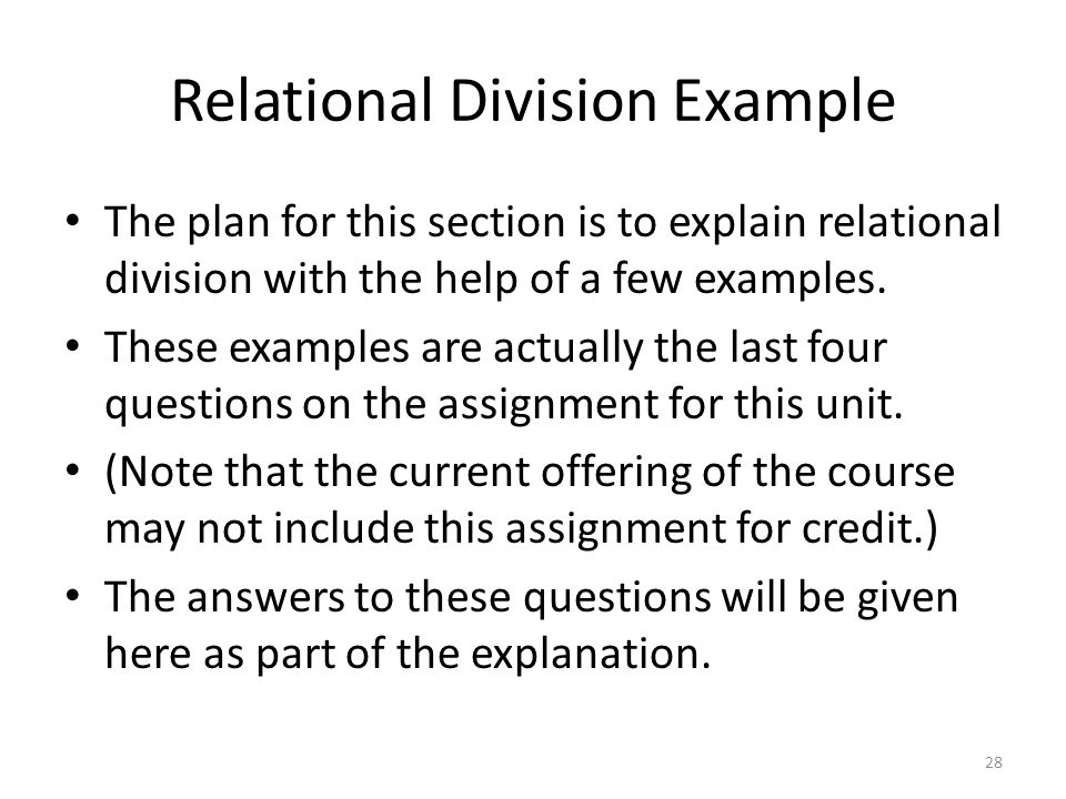 Relational Division Example