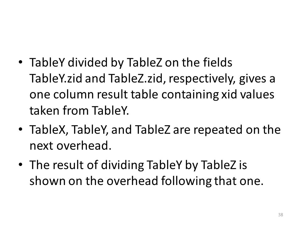 TableY divided by TableZ on the fields TableY. zid and TableZ