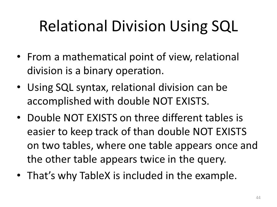 Relational Division Using SQL