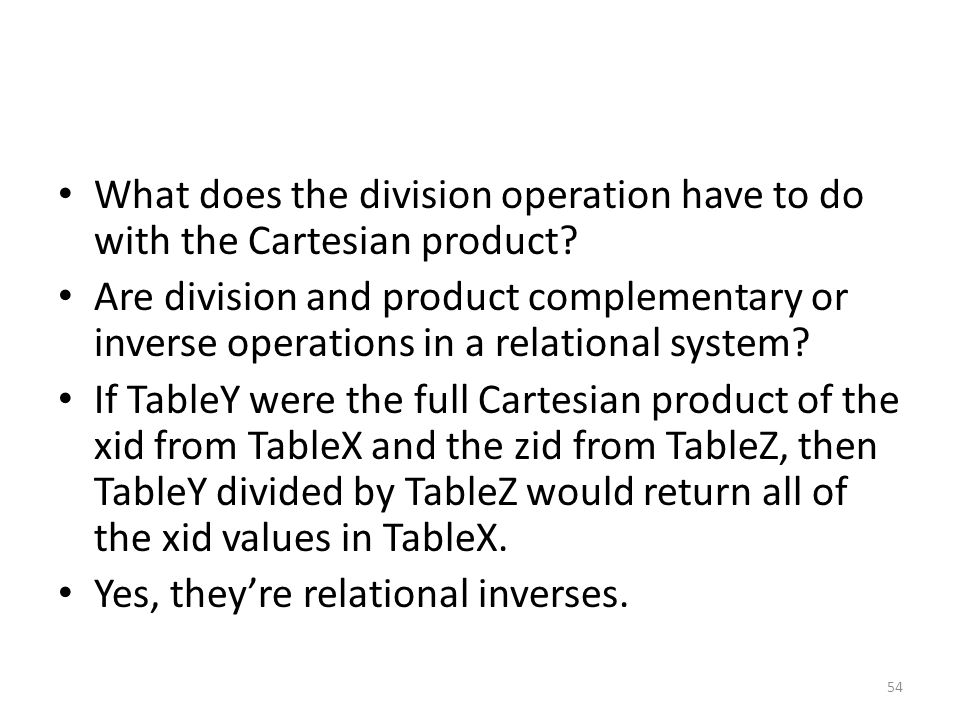 What does the division operation have to do with the Cartesian product