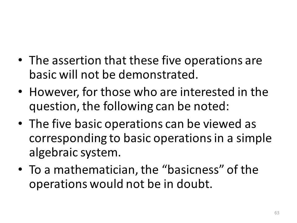 The assertion that these five operations are basic will not be demonstrated.
