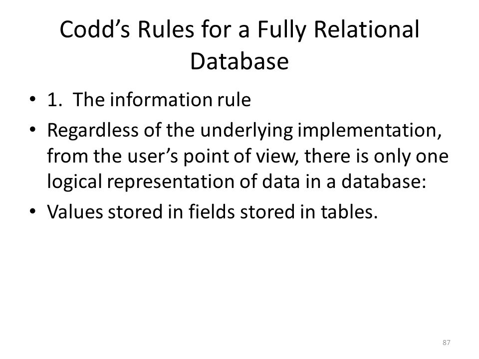 Codd's Rules for a Fully Relational Database