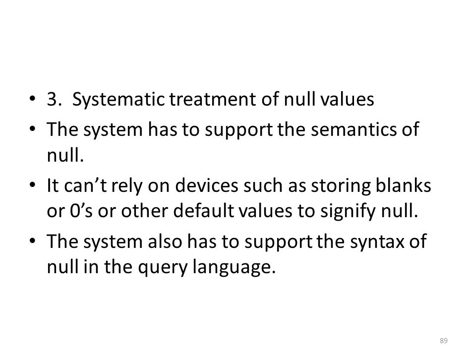 3. Systematic treatment of null values
