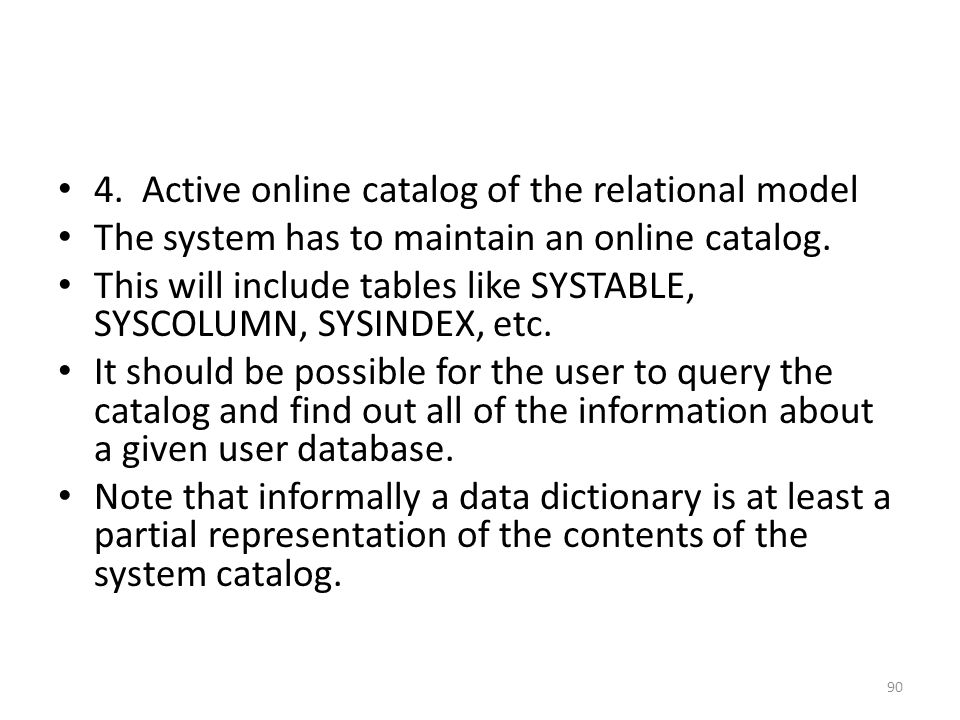 4. Active online catalog of the relational model