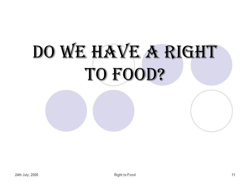 Do we have a Right to Food