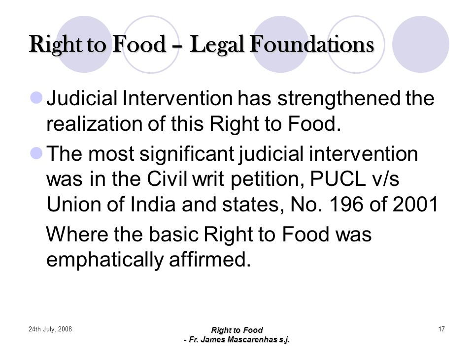 Right to Food – Legal Foundations