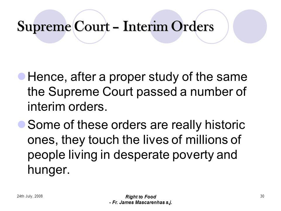 Supreme Court – Interim Orders