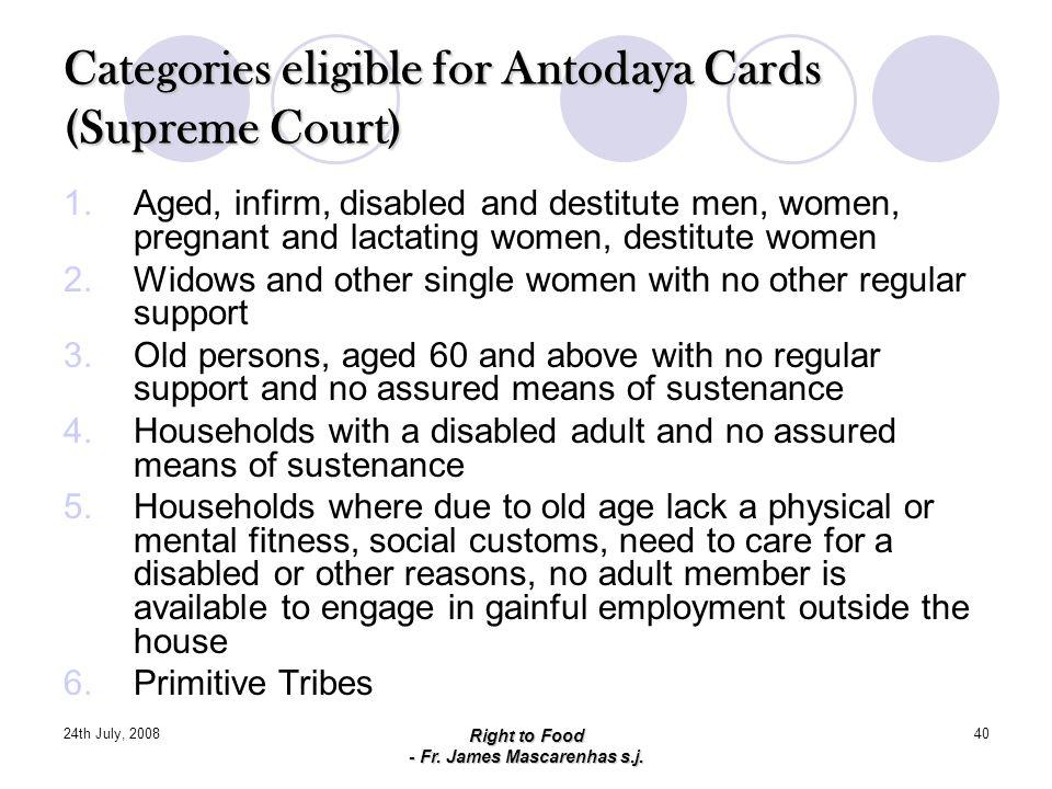 Categories eligible for Antodaya Cards (Supreme Court)