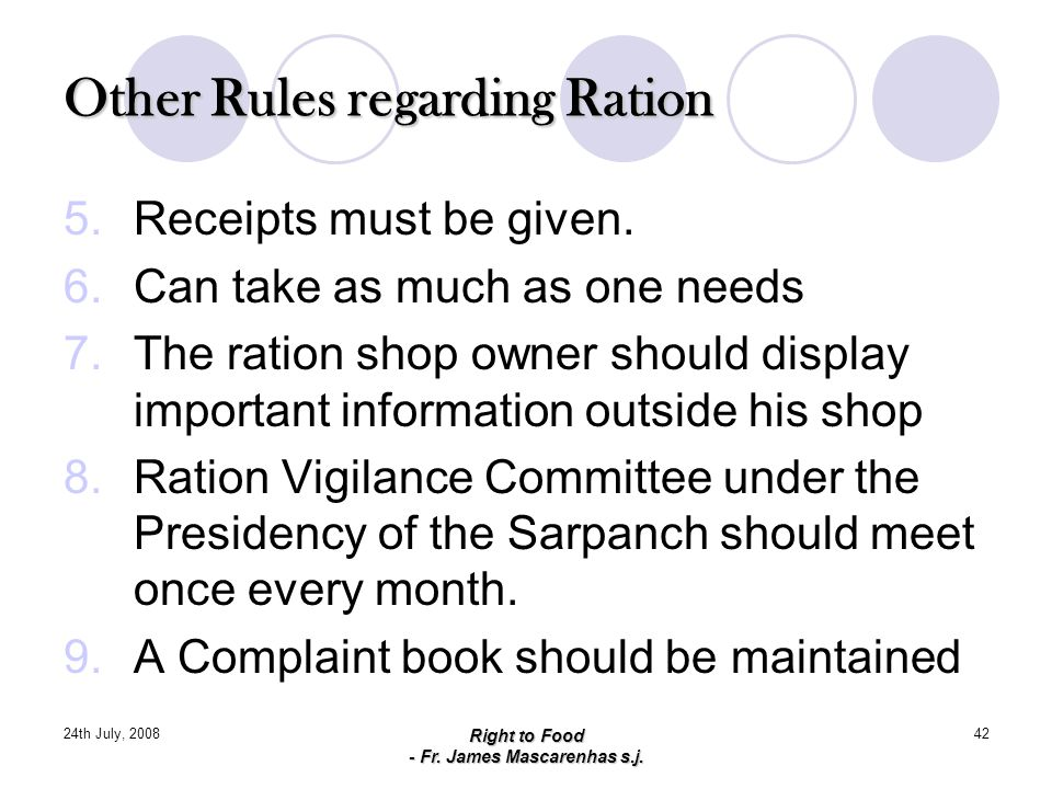 Other Rules regarding Ration