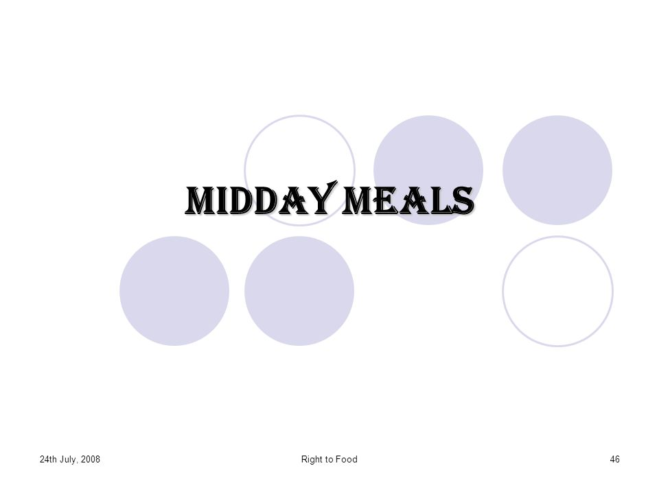 Midday Meals 24th July, 2008 Right to Food