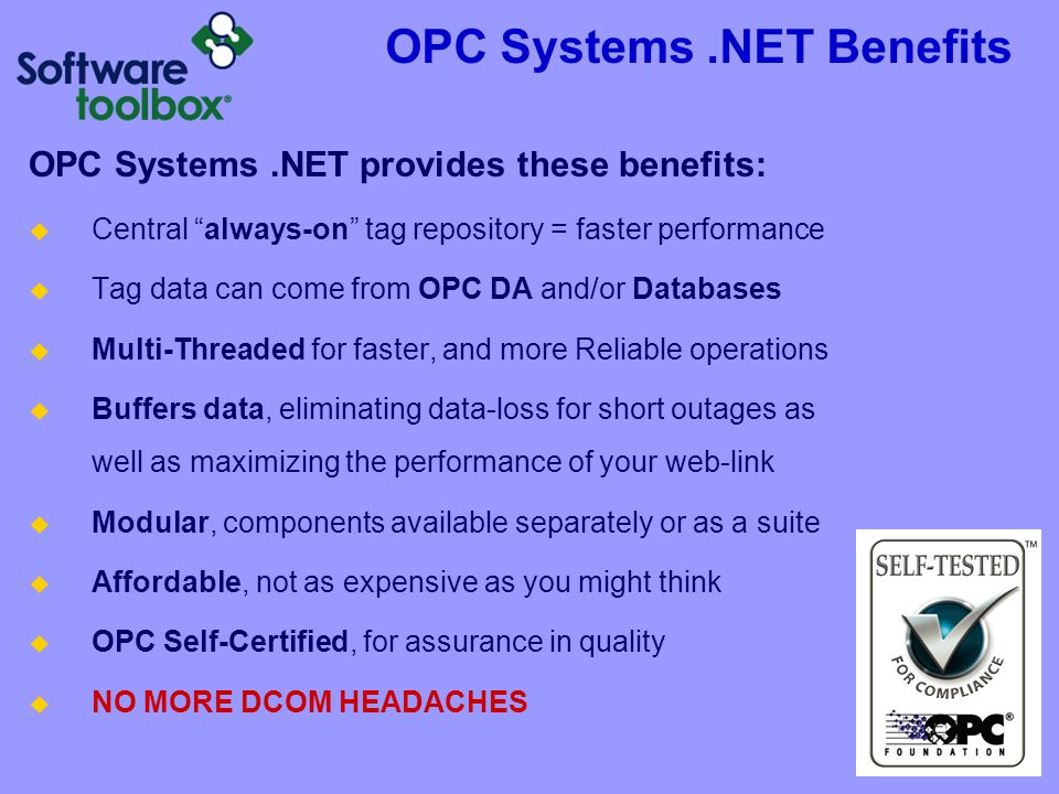 OPC Systems .NET Benefits