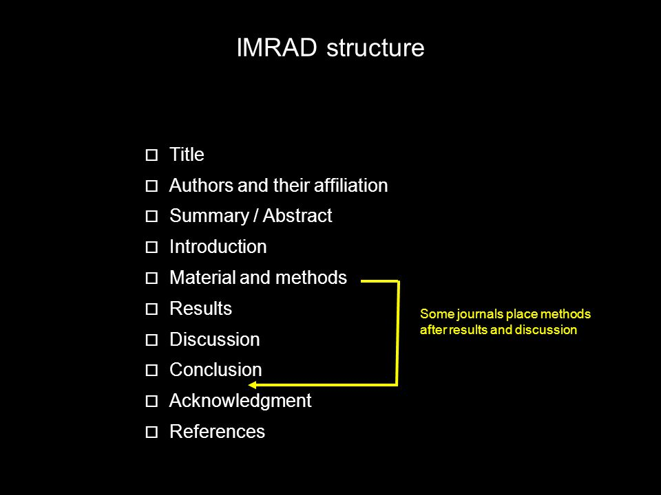 IMRAD structure Title Authors and their affiliation Summary / Abstract