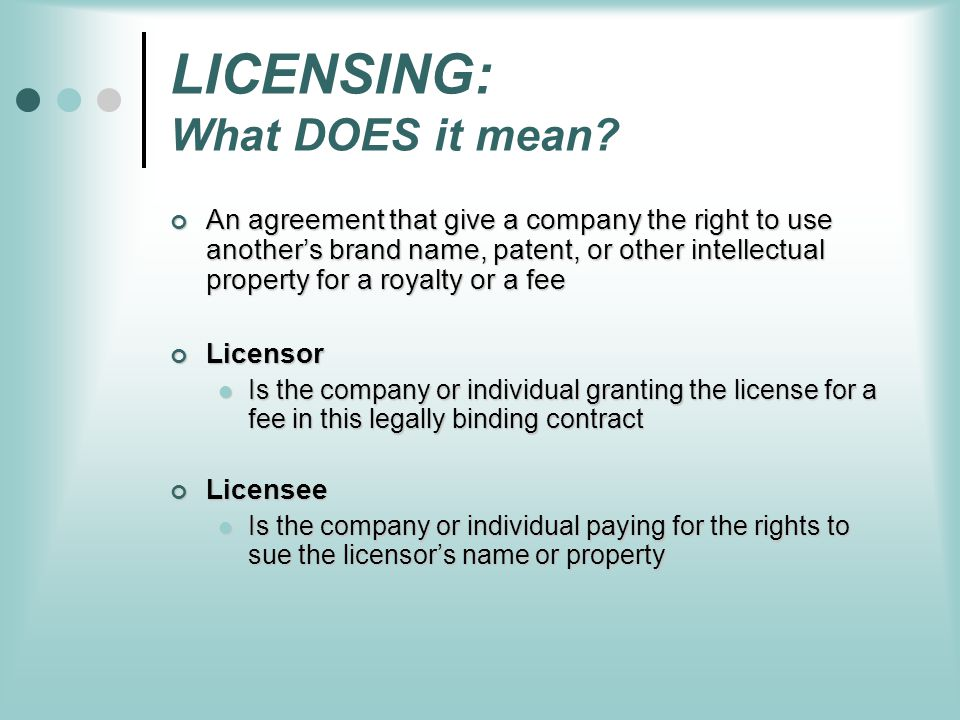 LICENSING: What DOES it mean