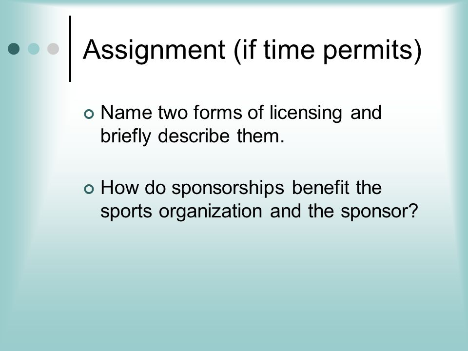Assignment (if time permits)