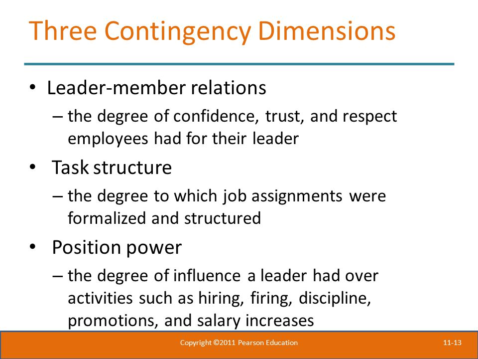 Three Contingency Dimensions
