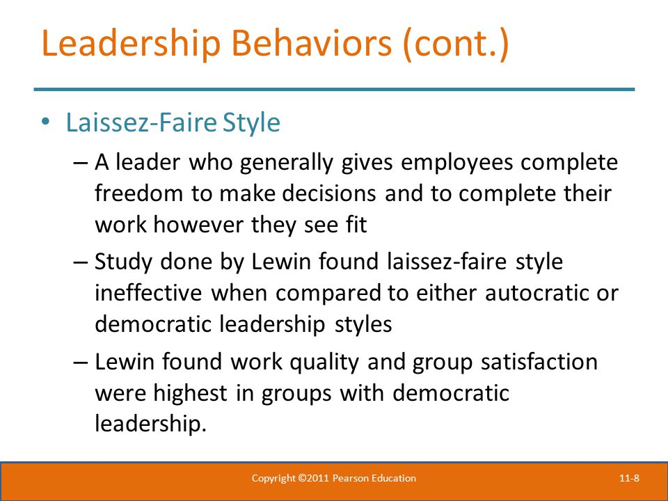 Leadership Behaviors (cont.)