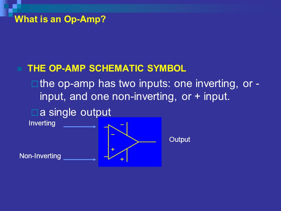What is an Op-Amp THE OP-AMP SCHEMATIC SYMBOL. the op-amp has two inputs: one inverting, or - input, and one non-inverting, or + input.