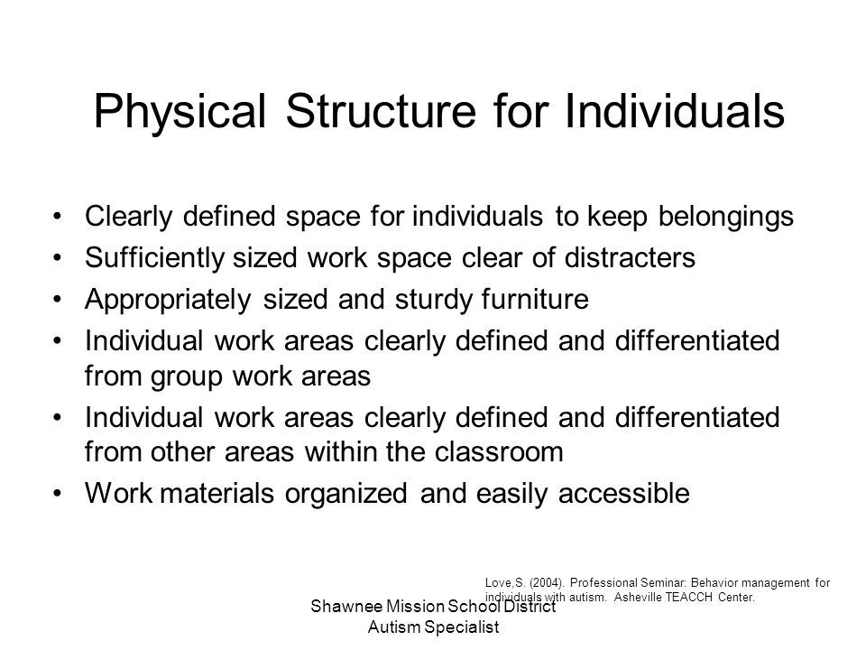 Physical Structure for Individuals