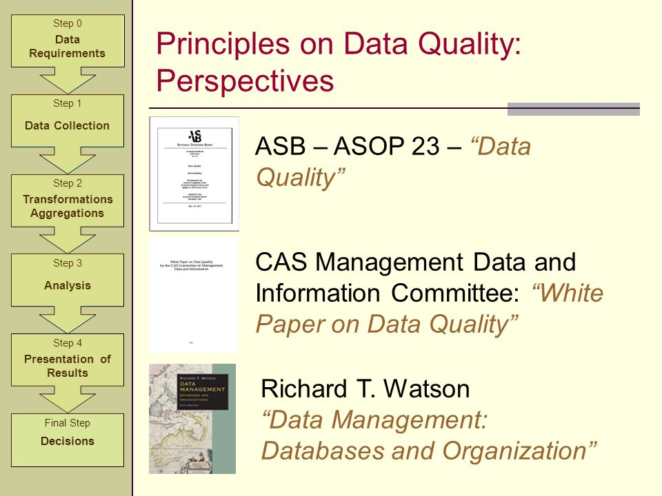 Principles on Data Quality: Perspectives