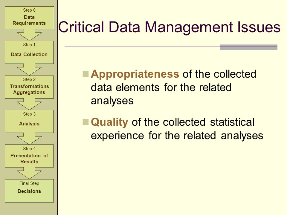 Critical Data Management Issues