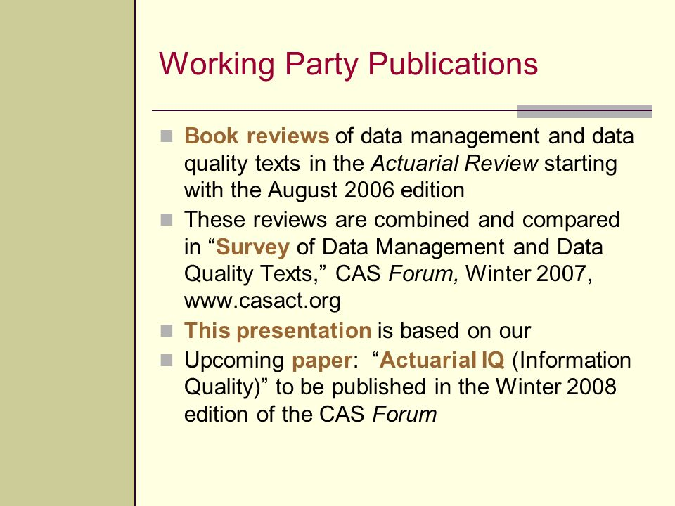 Working Party Publications