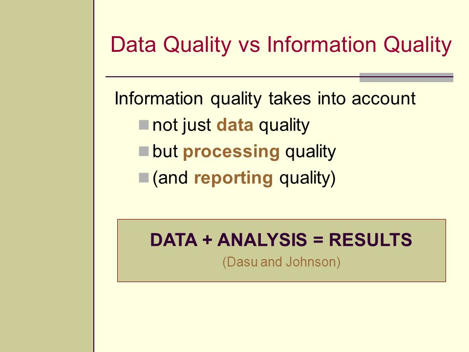 Data Quality vs Information Quality