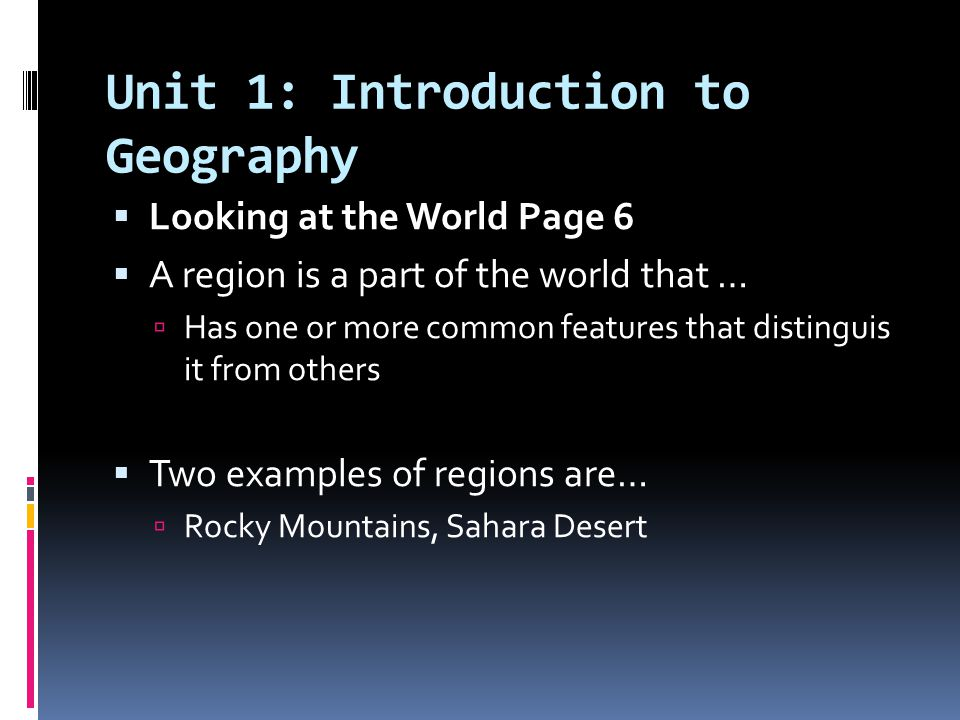 Unit 1: Introduction to Geography