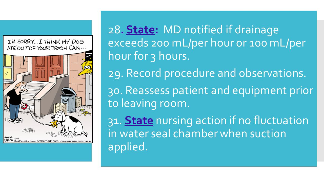 28. State: MD notified if drainage exceeds 200 mL/per hour or 100 mL/per hour for 3 hours.