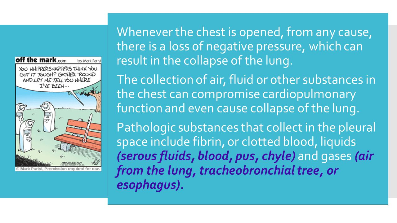 Whenever the chest is opened, from any cause, there is a loss of negative pressure, which can result in the collapse of the lung.